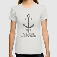 Where The Anchor Drops Womens Fitted Tee Silver SMALL