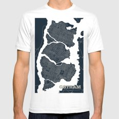 Gotham City Streets Map White Mens Fitted Tee SMALL