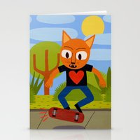 Skateboarding Cat Stationery Cards