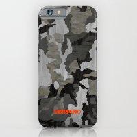 Modern Woodgrain Camouflage / Winter Birch Woodland Print iPhone 6 Slim Case