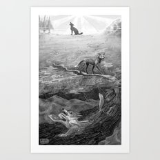 Coyote and the Columbia River  Art Print