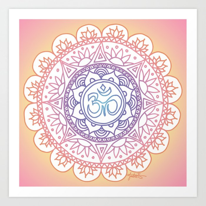 pink peaceful light ohm symbol mandala design