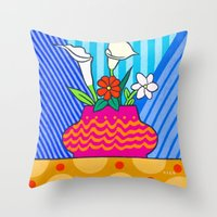 Four Flowers Throw Pillow