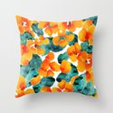 orange floral Throw Pillow