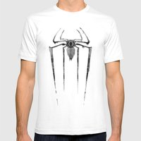 Amazing Spiderman B/W Mens Fitted Tee White SMALL
