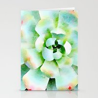Mint Watercolor Succulen… Stationery Cards