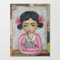 Frida Kahlo And Bunny Canvas Print