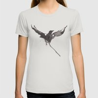 Flying crow Womens Fitted Tee Silver SMALL