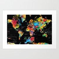Abstract World Map Black Art Print