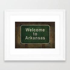 Welcome to Arkansas roadside sign illustration Framed Art Print