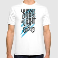 UAOL White Mens Fitted Tee SMALL