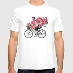 floral bicycle  SMALL Mens Fitted Tee White