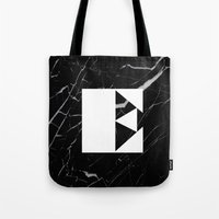 Black Marble - Alphabet E Tote Bag