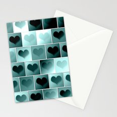 Monochrome hearts pattern Stationery Cards