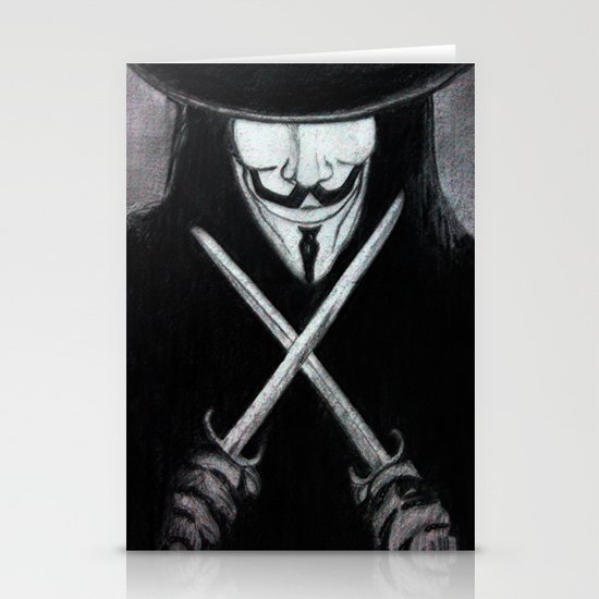 V for Vendetta  (by Esin )5 Stationery Card