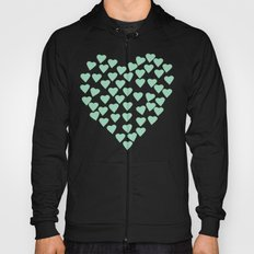 Hearts Heart White on Mint Hoody