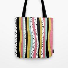 Polka Pink Blue Gold Wavy Stripes Tote Bag