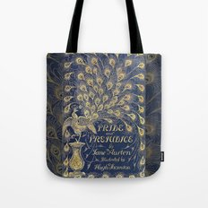 Pride and Prejudice by Jane Austen Vintage Peacock Book Cover Tote Bag