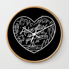 Adventure is where your heart is BW Wall Clock
