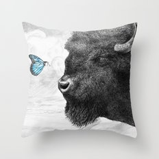 Bison and Butterfly (square format) Throw Pillow