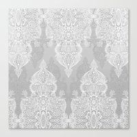 Lace & Shadows 2 - Monochrome Moroccan doodle Canvas Print