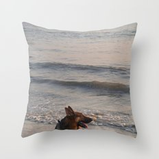 German Shepherd in the Surf Palolem Throw Pillow
