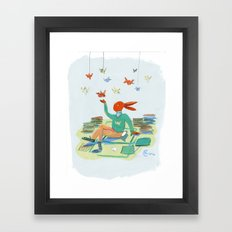 Origami Bunny Framed Art Print