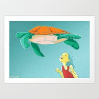 Flying Turtle Art Print