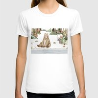 Mr.Brown Is Chilling By … Womens Fitted Tee White SMALL