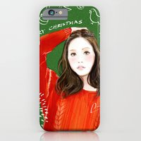 iPhone & iPod Case featuring Christmas girl by Joe Tin Illustration