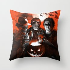 Freddy Krueger Jason Voorhees Michael Myers Super Villians Holiday Throw Pillow