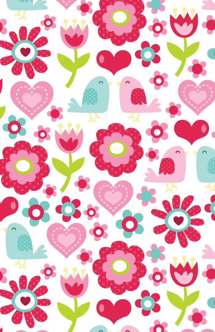 Retro floral love birds pattern art print by totallyjamie - Fotos decorativas ...
