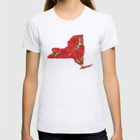 New York In Flowers Womens Fitted Tee Ash Grey SMALL