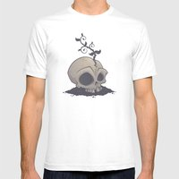 Skull Garden Mens Fitted Tee White SMALL