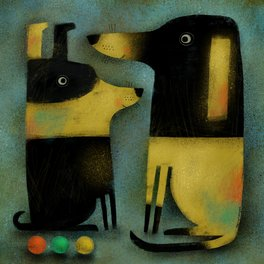 Art Print - YELLOW AND BLACK HOUNDS - Terry Runyan