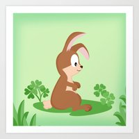 Woodland Animals Serie I. rabbit Art Print