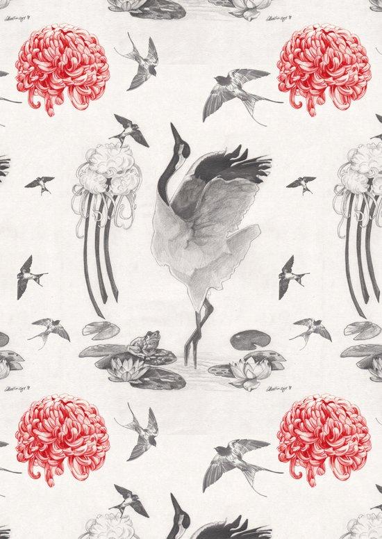 Crane, Swallow, Frog Art Print