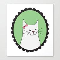 White Kitty Canvas Print