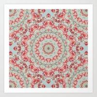 Flight of the Red Maple Tree -- Dreamy Mandala, Medallion, Kaleidoscope in Vintage Tones Art Print
