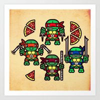 Teenage Mutant Ninja Turtles Pizza Party Art Print