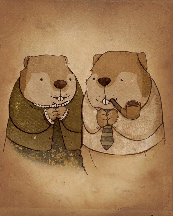 Mr. and Mrs. Beaver Art Print