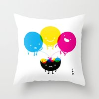 CMY piss K Throw Pillow