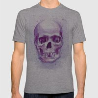 Pink Skull Watercolor Mens Fitted Tee Athletic Grey SMALL