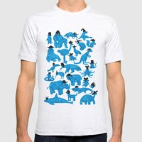 Blue Animals Black Hats Mens Fitted Tee Ash Grey SMALL