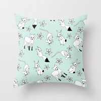 Woodland Creatures - Turquoise Throw Pillow