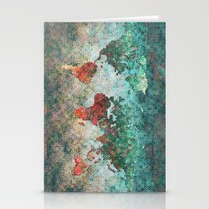 World Map Square Stationery Cards