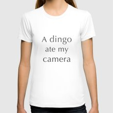 A Dingo Ate My Camera Womens Fitted Tee White SMALL