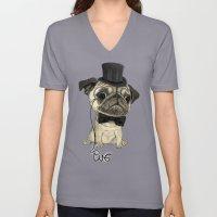 Pug; gentle pug (color version) Unisex V-Neck