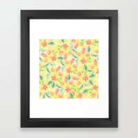 Summer pink yellow romantic floral watercolor paint Framed Art Print