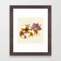 Critters: Fall Camping Framed Art Print